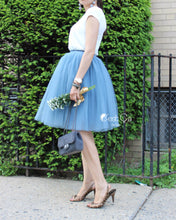 Clarisa Dusty Blue Tulle Skirt - Midi - C'est Ça New York