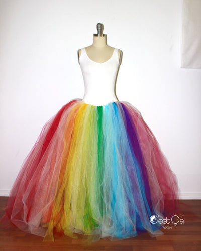 Bright Rainbow Maxi Tulle Skirt