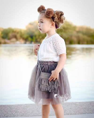 Claire Kids Ash Gray Soft Tulle Skirt