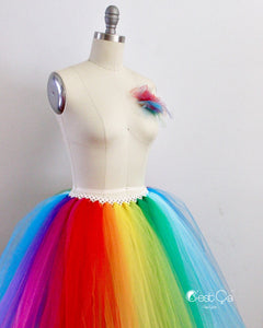 Bright Rainbow Midi Tulle Skirt - C'est Ça New York