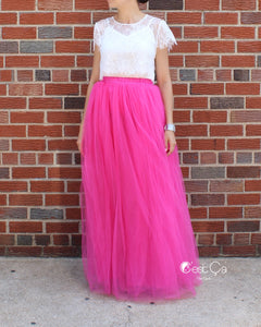 Claire Pink Fuchsia Soft Tulle Skirt - Maxi - C'est Ça New York