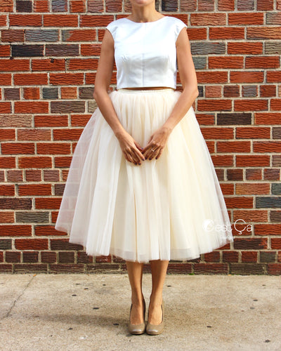 Clarisa Champagne Tulle Skirt - Tea Length