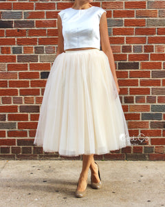 Clarisa Champagne Tulle Skirt - Tea Length - C'est Ça New York