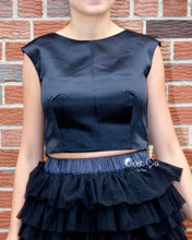 Lola Black Satin Crop Top - C'est Ça New York