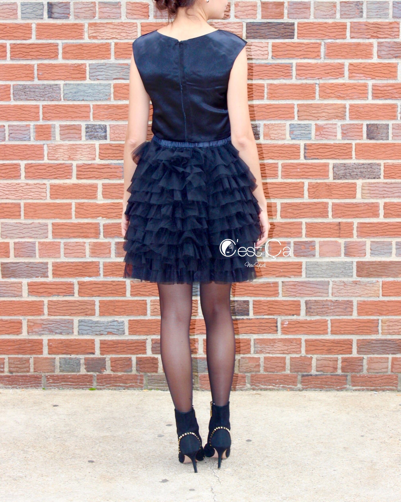 6750716bc90e Celine Black Tiered Mini Tulle Skirt – C est Ça New York