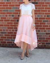 SAMPLE Donna Blush Pink High-Low Satin Organza & Tulle Skirt (size 10/12) - C'est Ça New York
