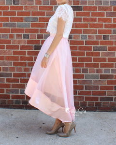 Donna Blush Pink High-Low Satin Organza & Tulle Skirt
