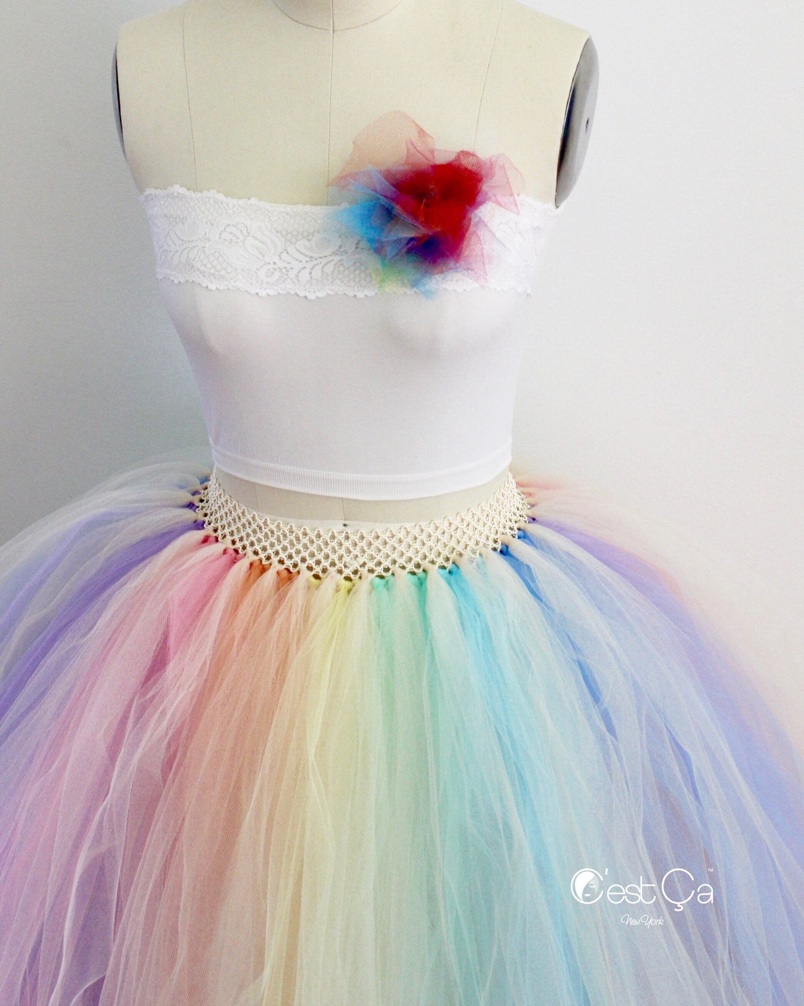264c55cd18 ... Pastel Rainbow Maxi Tulle Skirt - C'est Ça New ...
