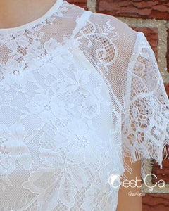 Lourdes White Lace Bolero Crop Top - C'est Ça New York
