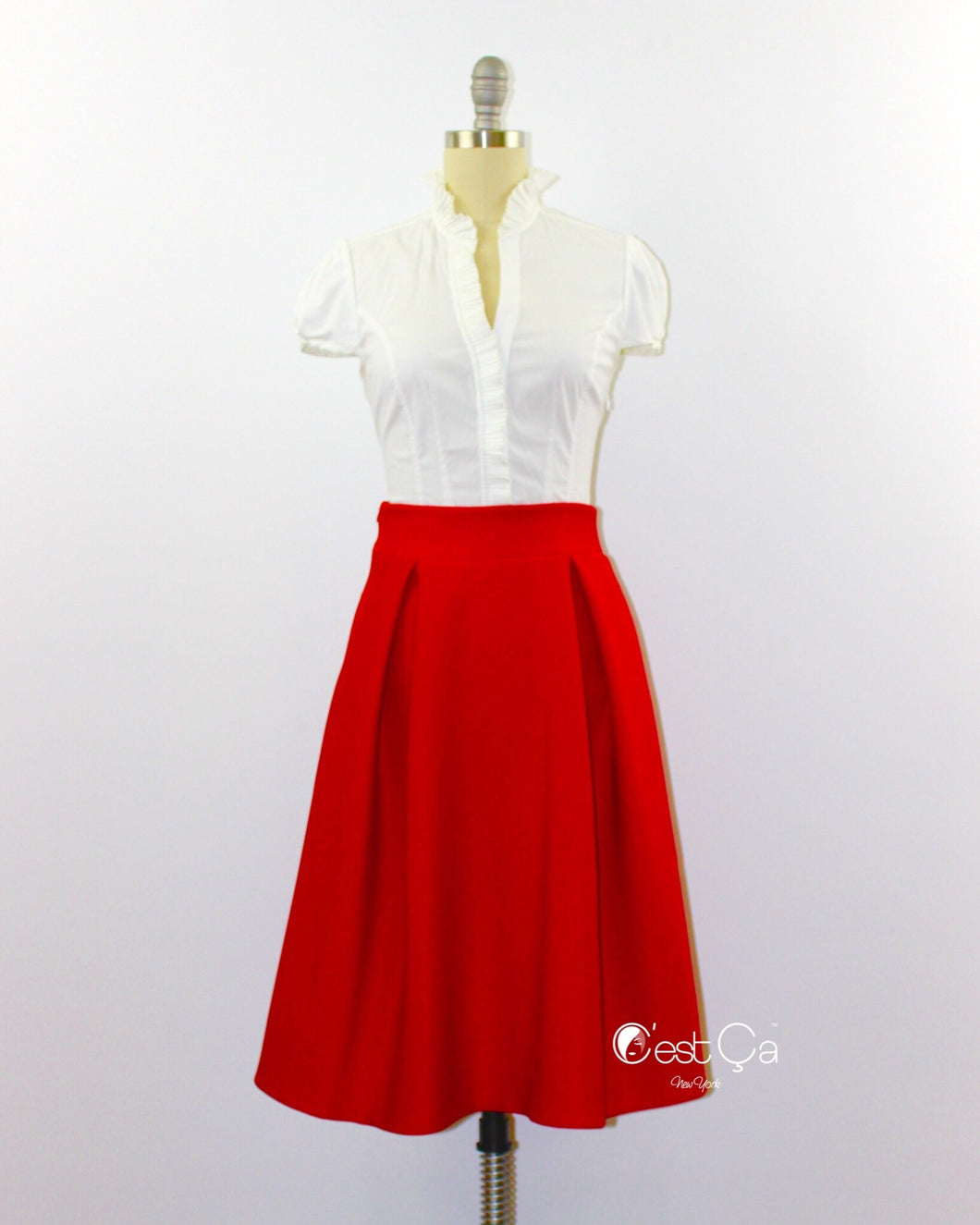 Amelie Red Pleated Midi Skirt - C'est Ça New York