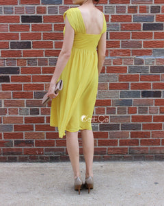 Ashley Yellow Empire Waist Cocktail Dress - C'est Ça New York