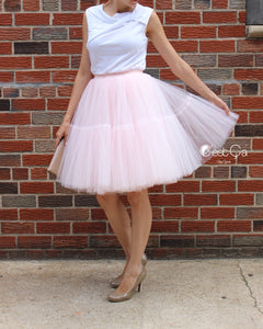 Beatrice Blush Pink Tulle Skirt - Midi - C'est Ça New York