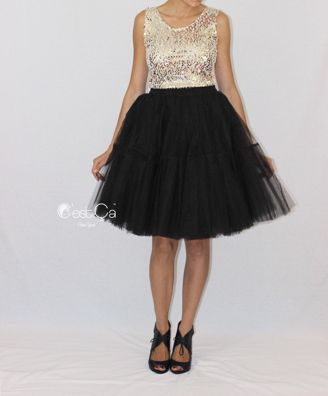 Beatrice Black Tulle Skirt - Midi - C'est Ça New York