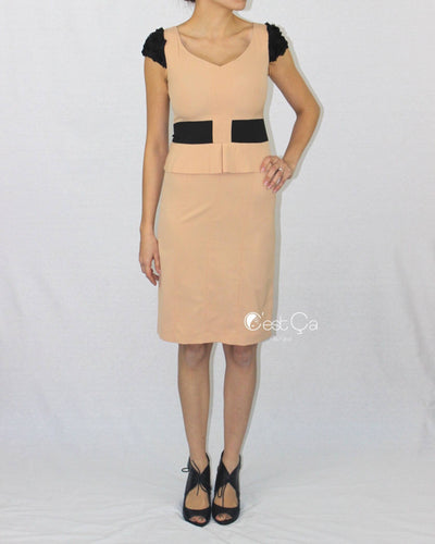 Belle Beige & Black Cocktail Sheath Dress - C'est Ça New York