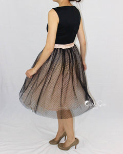 Betty Black Polka Dot Tulle Skirt - Midi - C'est Ça New York