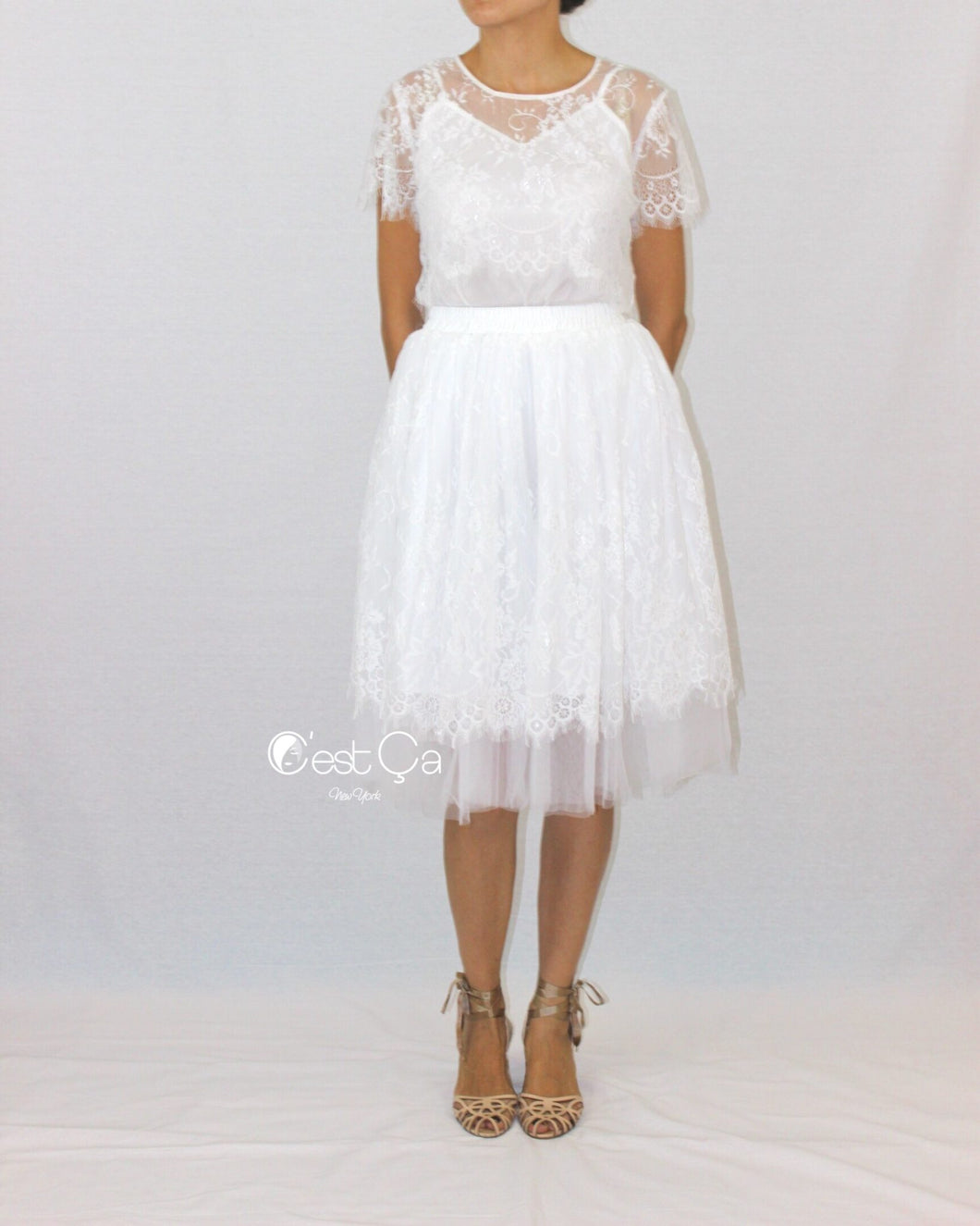 Brigitte Bridal Lace Tulle Skirt - Midi - C'est Ça New York