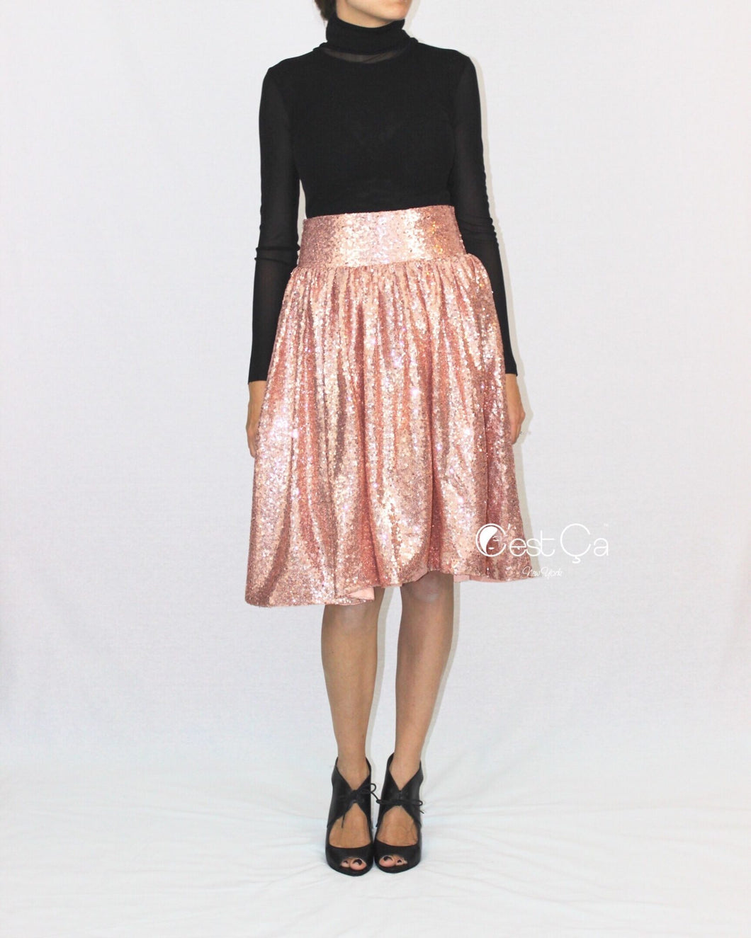 SAMPLE Charlotte Rose Gold Sequin Skirt (size 4, waist 28
