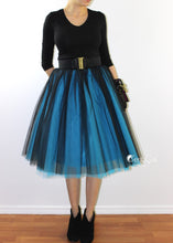 Clarisa Ombre Tulle Skirt - Sky Blue & Black, Midi - C'est Ça New York