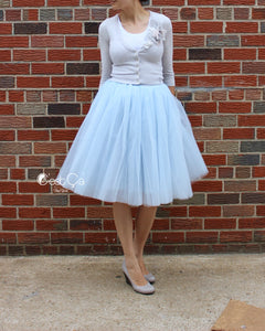Clarisa Blue Gray Tulle Skirt - Midi - C'est Ça New York