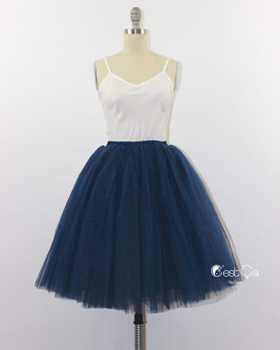 Clarisa Navy Blue Tulle Skirt - Midi - C'est Ça New York