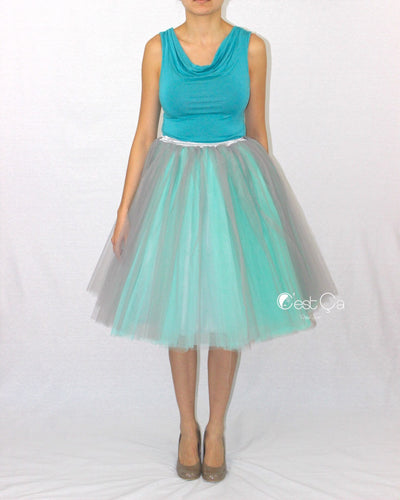 Clarisa Ombré Tulle Skirt - Dove Gray & Mint Green, Midi - C'est Ça New York