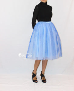 Clarisa Ombre Tulle Skirt - Serenity Blue, Tea Length - C'est Ça New York
