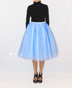 Ciara Serenity Blue Ombre Tulle Skirt - Tea Length - C'est Ça New York
