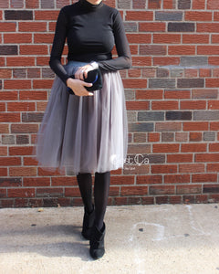 Claire Ash Gray Soft Tulle Skirt - Below Knee Midi - C'est Ça New York