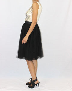 Claire Black Soft Tulle Skirt - Below Knee Midi - C'est Ça New York