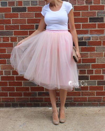 Claire Blush Pink Soft Tulle Skirt - Below Knee Midi - C'est Ça New York