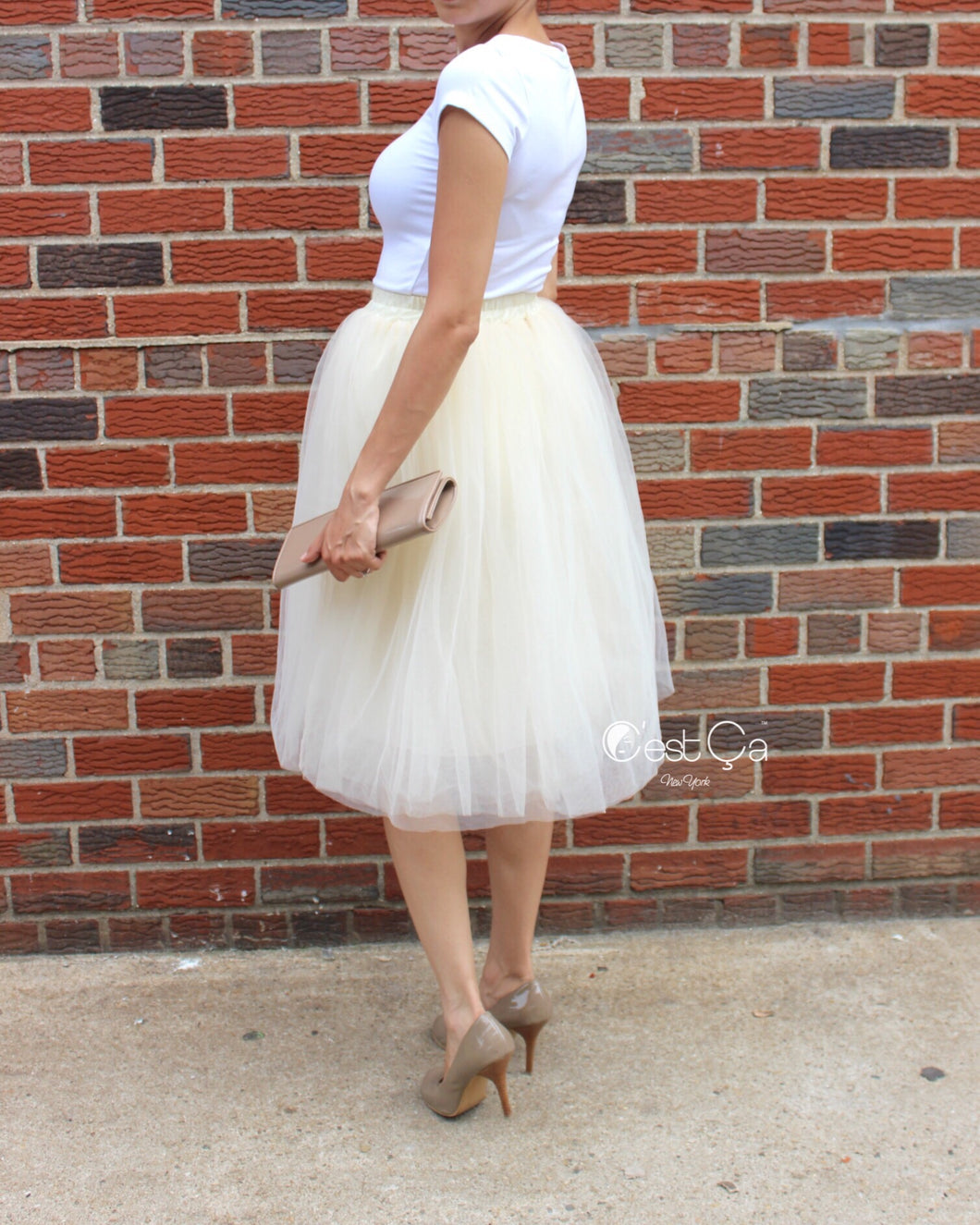 Claire Champagne Soft Tulle Skirt - Below Knee Midi - C'est Ça New York