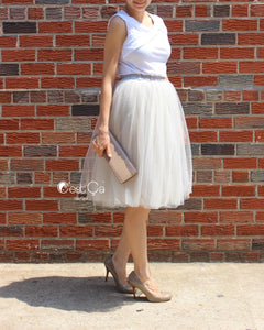 Claire Dove Gray Soft Tulle Skirt - Below Knee Midi - C'est Ça New York