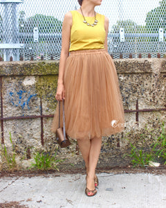 Claire Light Coffee Soft Tulle Skirt - Below Knee Midi - C'est Ça New York
