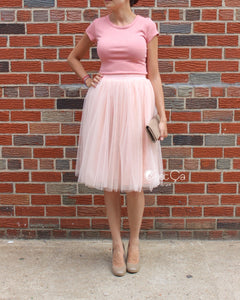 Claire Blush Pink Shimmery Soft Tulle Skirt - Midi - C'est Ça New York