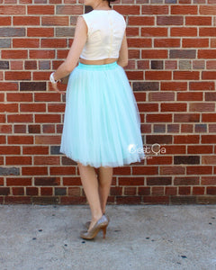 Claire Mint Green Soft Tulle Skirt - Below Knee Midi - C'est Ça New York