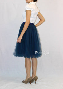 Claire Navy Blue Soft Tulle Skirt - Below Knee Midi - C'est Ça New York