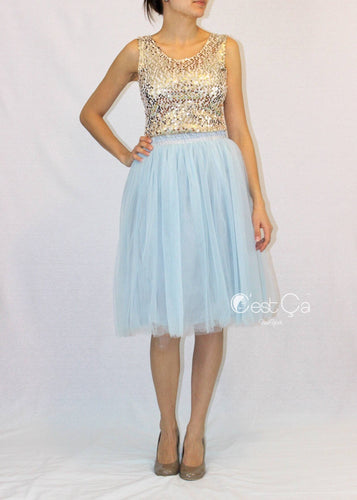 Claire Baby Blue Soft Tulle Skirt - Below Knee Midi - C'est Ça New York