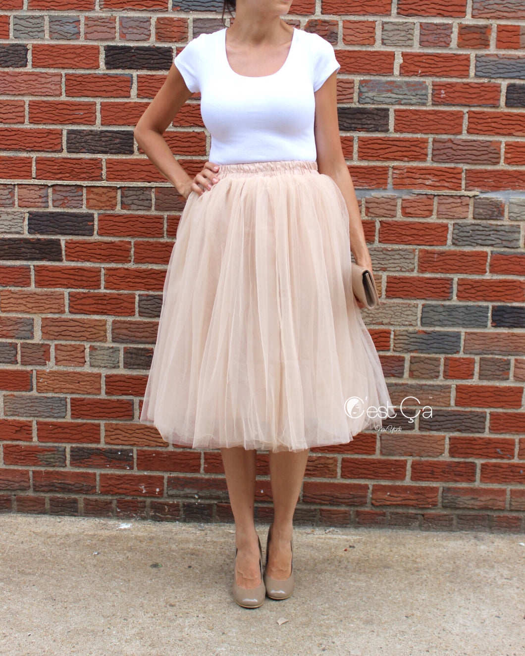 Claire Beige Soft Tulle Skirt - Below Knee Midi - C'est Ça New York