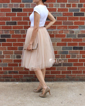 Claire Soft Beige Tulle Skirt - Below Knee Midi - C'est Ça New York