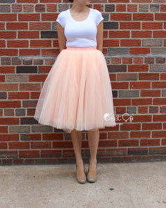Claire Blush Peach Soft Tulle Skirt - Below Knee Midi - C'est Ça New York