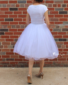 Claire White Soft Tulle Skirt - Below Knee Midi - C'est Ça New York