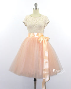 Clarisa Blush Peach Tulle Skirt - Midi - C'est Ça New York