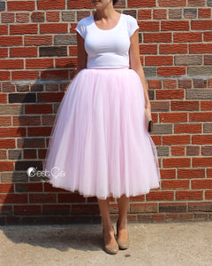 Clarisa Blush Pink Tulle Skirt - Tea Length - C'est Ça New York