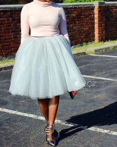Clarisa Dove Gray Tulle Skirt - Midi - C'est Ça New York