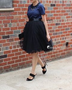 Clarisa Puffy Black Tulle Skirt - Midi - C'est Ça New York