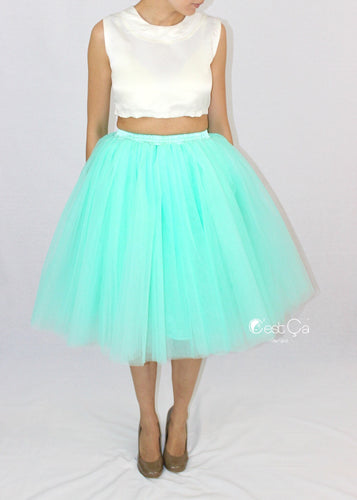 Clarisa Mint Green Tulle Skirt - Midi - C'est Ça New York
