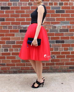 Clarisa Red Tulle Skirt - Midi - C'est Ça New York