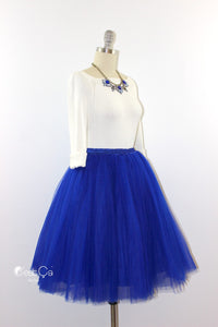 Clarisa Royal Blue Tulle Skirt - Midi - C'est Ça New York
