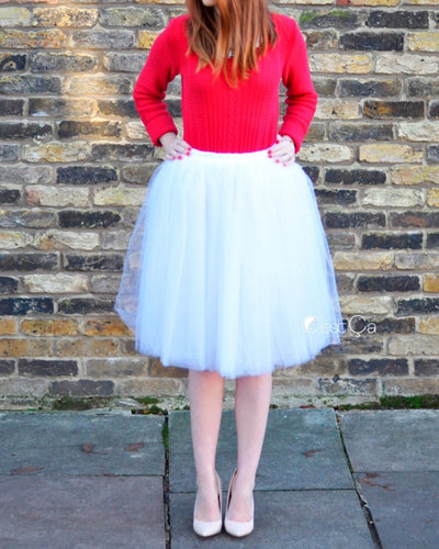 Clarisa Snow White Tulle Skirt - Midi - C'est Ça New York