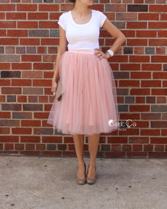 Colette Gray Pink Soft Tulle Skirt - Midi - C'est Ça New York